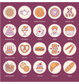bakery confectionery flat line icons sweet shop vector image