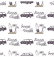 surfing old style car pattern design summer vector image vector image