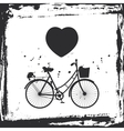 Abstract grunge frame bicycle silhouette and vector image