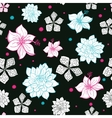Black Pink Blue Floral Drawing Seamless vector image