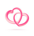 couple of 3d pink hearts isolated on white vector image