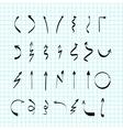 Scribble hand-drawn arrows design set vector image