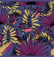 seamless pattern with tropical flowers leaves and vector image