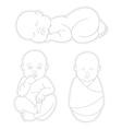 Set of Sleeping swaddled newborn baby vector image