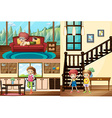 Kids in different rooms of the house vector image