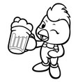 black and white chicken mascot holding a beer vector image