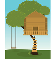 Tree house with swing vector image