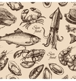 Hand drawn sketch seafood seamless pattern vector image vector image