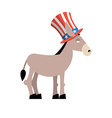 Donkey Democrat Donkey in Uncle Sam hat Symbol of vector image