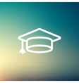 Graduation cap thin line icon vector image