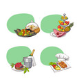 hand drawn restaurant or room service elements vector image
