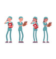 male and female nurse standing vector image