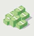 Money stacked piles of green banknotes vector image