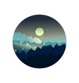 mountains and forest landscape with moon vector image