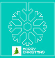 Retro Christmas Card with Snowflake Outline and vector image