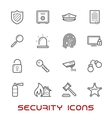 Security and protection thin line style icons vector image