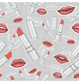 Lips and lipsticks beauty seamless pattern vector image vector image