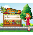 A woman in front of the green grocery stall vector image