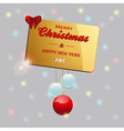 Gold Christmas card with baubles and bow vector image