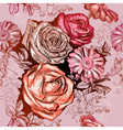 Seamless Floral Pattern with Roses and Chamomile vector image vector image