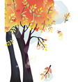 Autumn tree background watercolor style vector image