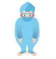 blue hairy bigfoot the mythical yeti smile vector image