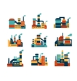 Flat industrial buildings and factories icons vector image