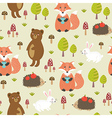 Forest seamless pattern in childish style vector image