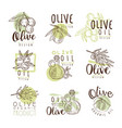organic olive product set for label design vector image