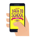 back to school banner on smartphone vector image