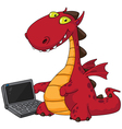 dragon and laptop vector image vector image
