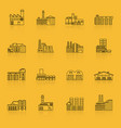 building factory outline icon set vector image
