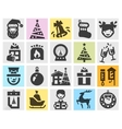 Christmas set black icons signs and symbols vector image