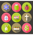 Easter flat styled circle icon set 7 with long vector image