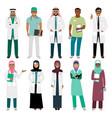 muslim doctor and arabian nurse icons vector image