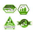 nature emblem for landscaping services design vector image