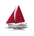 Sailing boat floating on water surface vector image