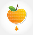 Apple icon with honey background greeting card vector image