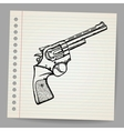 Revolver drawing in doodle style vector image vector image