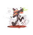 gamer guy runs with blaster vector image
