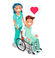 nurse with patient in wheelchair isometric people vector image