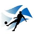 scotland soccer player against national flag vector image vector image