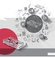 Paper and hand drawn money emblem with icons vector image vector image