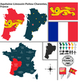 Map of Aquitaine Limousin Poitou Charentes vector image