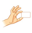 hand holding an empty business card vector image