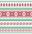 Nordic seamless knitted red and green pattern vector image