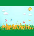 Paper art style barley field and birds vector image