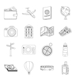 Rest and travel set icons in outline style Big vector image