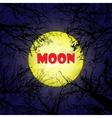 Yellow moon with dark trees vector image