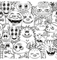 Cartoon Contour Monsters Seamless vector image